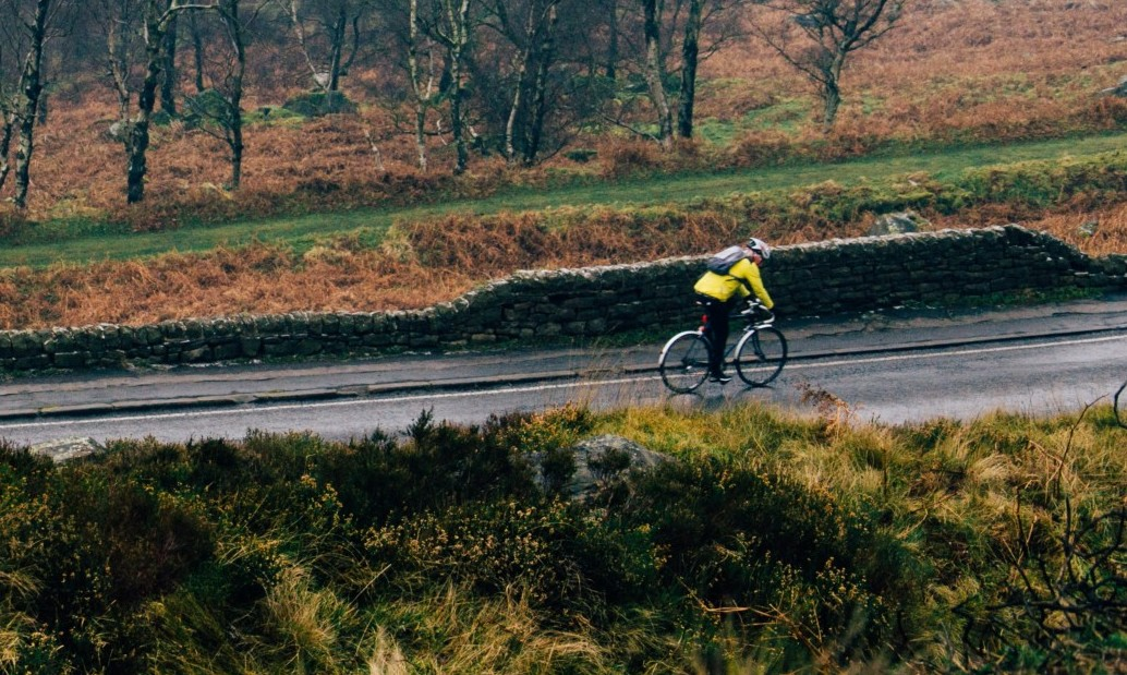 Photo of a cyclist pedaling through countryside. Photo by Shane Rounce on Unsplash